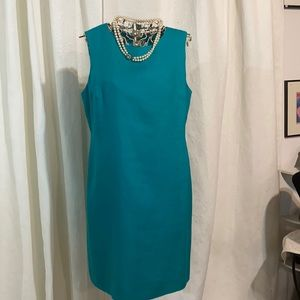 Holt Renfrew teal linen lined sheath dress